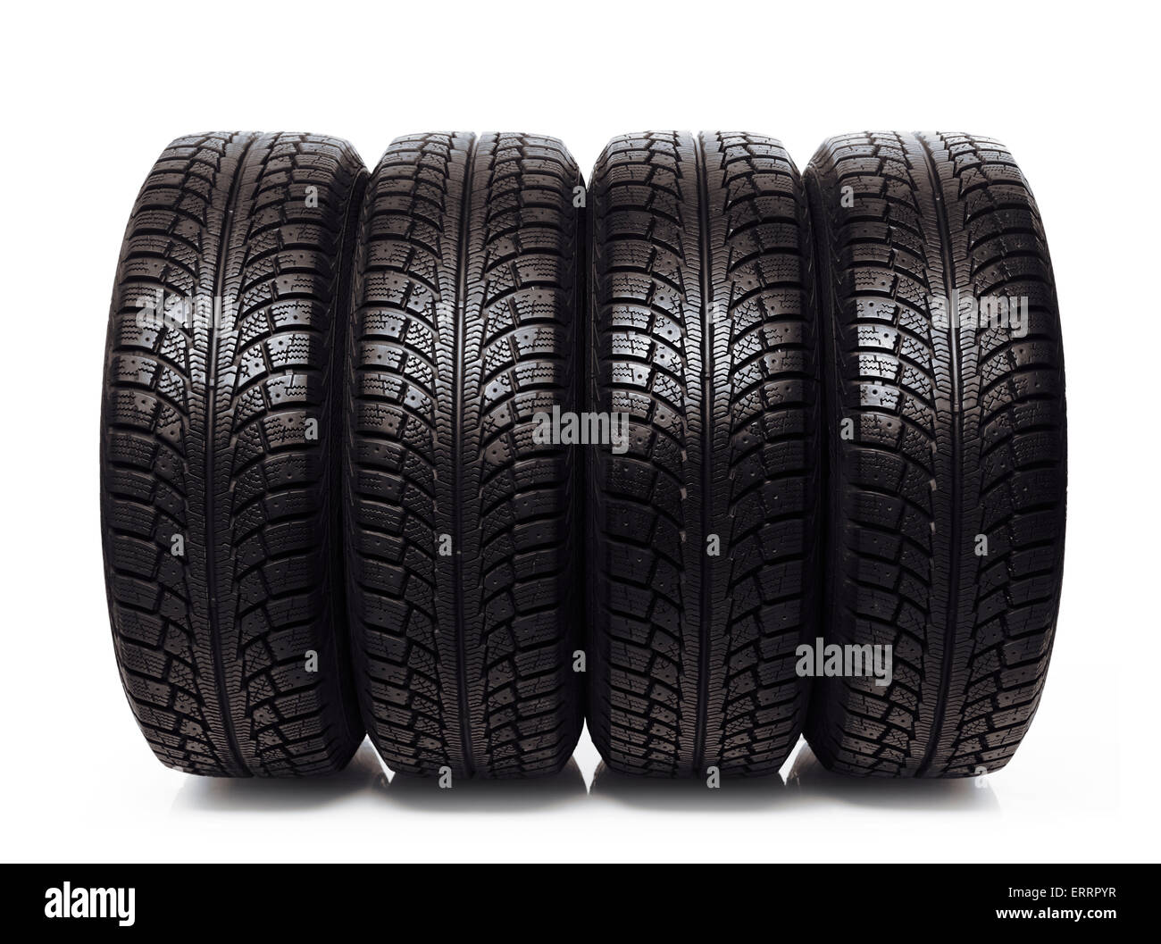set of four winter tires car snow tyres isolated on white background stock image