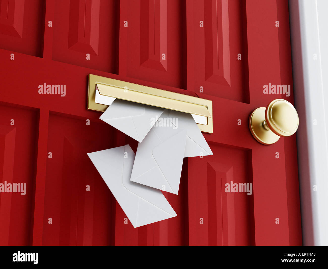 Letter Sliding Through Brass Mail Slot On A Brown Door