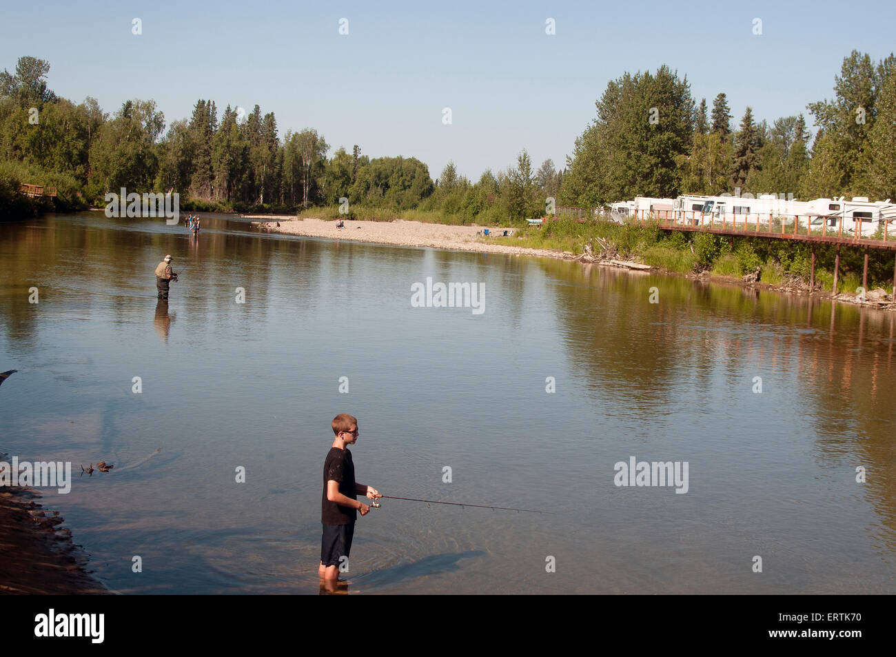 Fishing at willow creek campground in alaska stock photo for Willow creek fishing