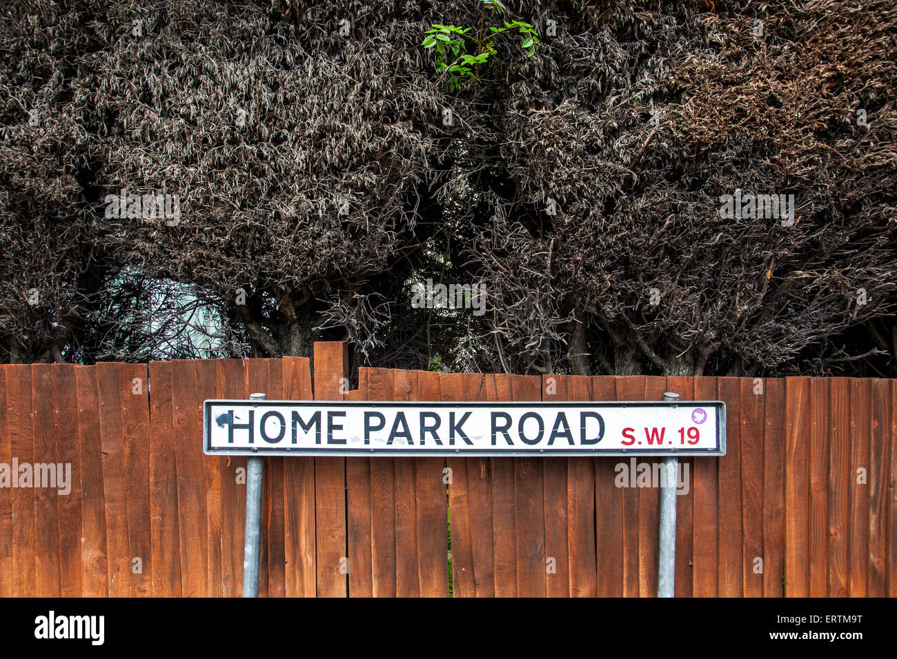 Home Park Road Sign In Wimbledon England Stock Photo