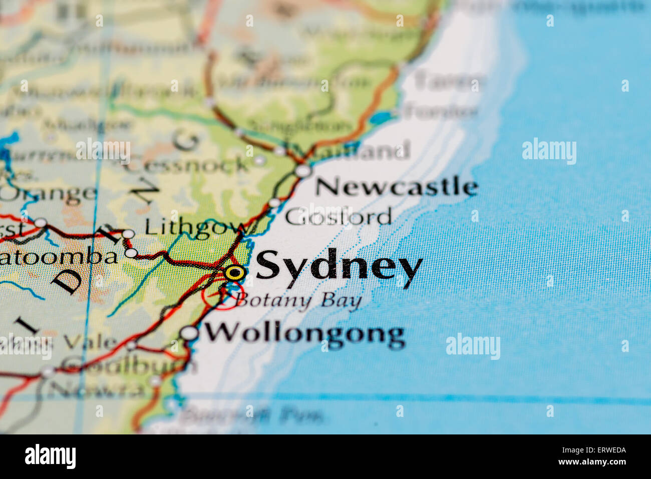 Close Up Of Map Of Sydney On The East Coast Of Australia – East Coast of Australia Map