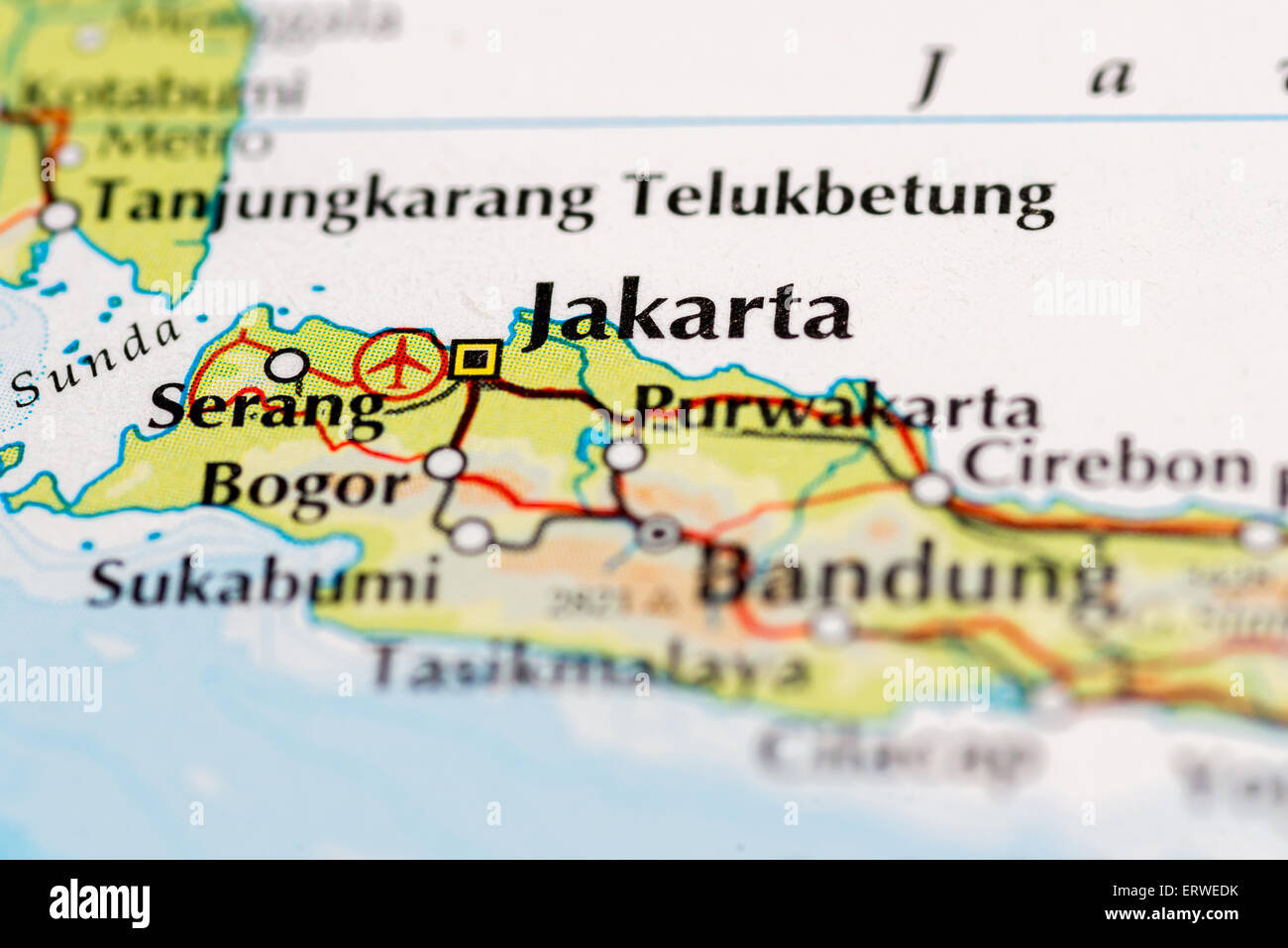 Close up of map of Indonesia and Jakarta Stock Photo Royalty Free
