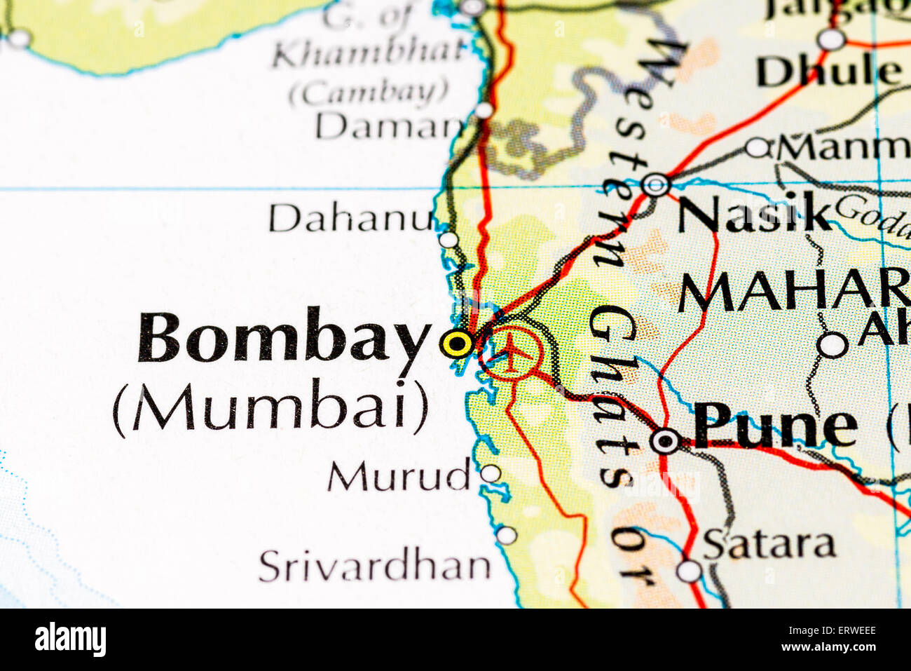 close up of atlas map of mumbai india which was formerly known as