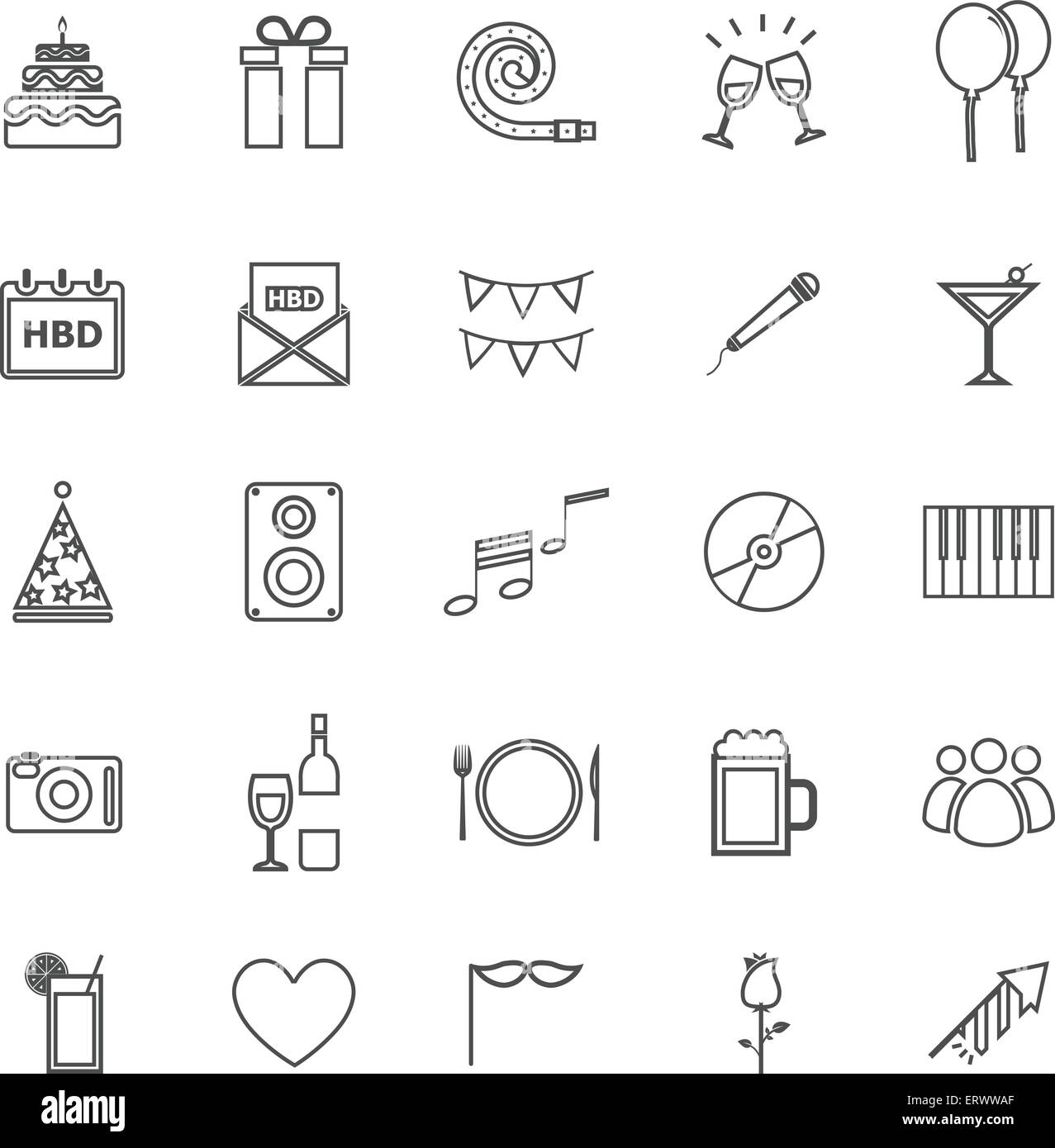 Birthday line icons on white background stock vector stock vector birthday line icons on white background stock vector buycottarizona