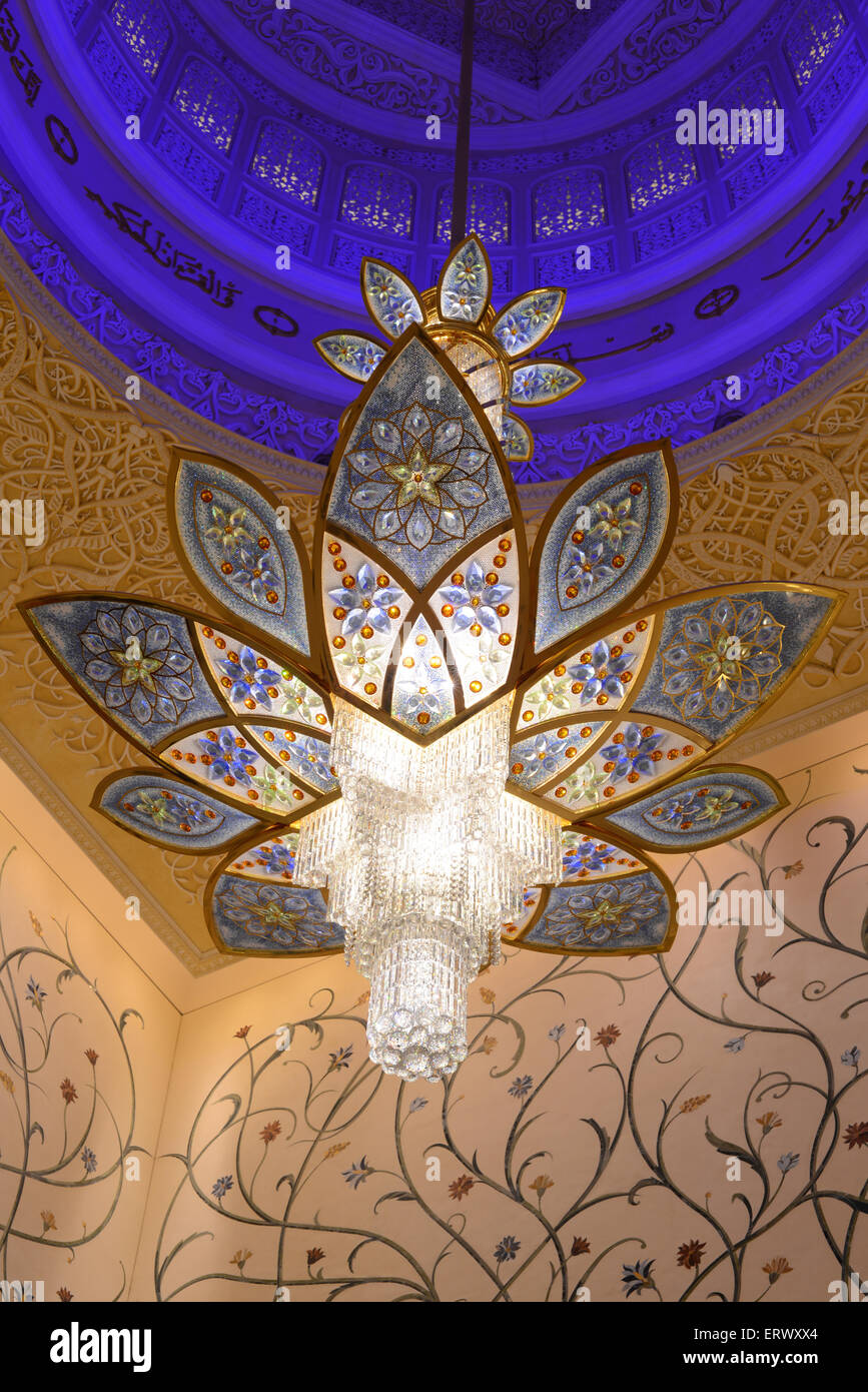 chandelier hanging inside the Sheikh Zayed Grand Mosque in Abu ...