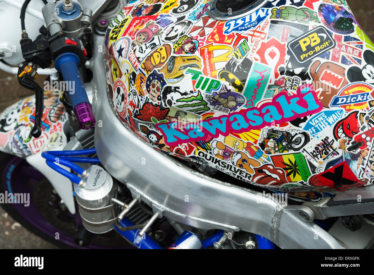 Kawasaki Motorcycle With A Petrol Tank Covered In Stickers Stock - Kawasaki motorcycles stickers