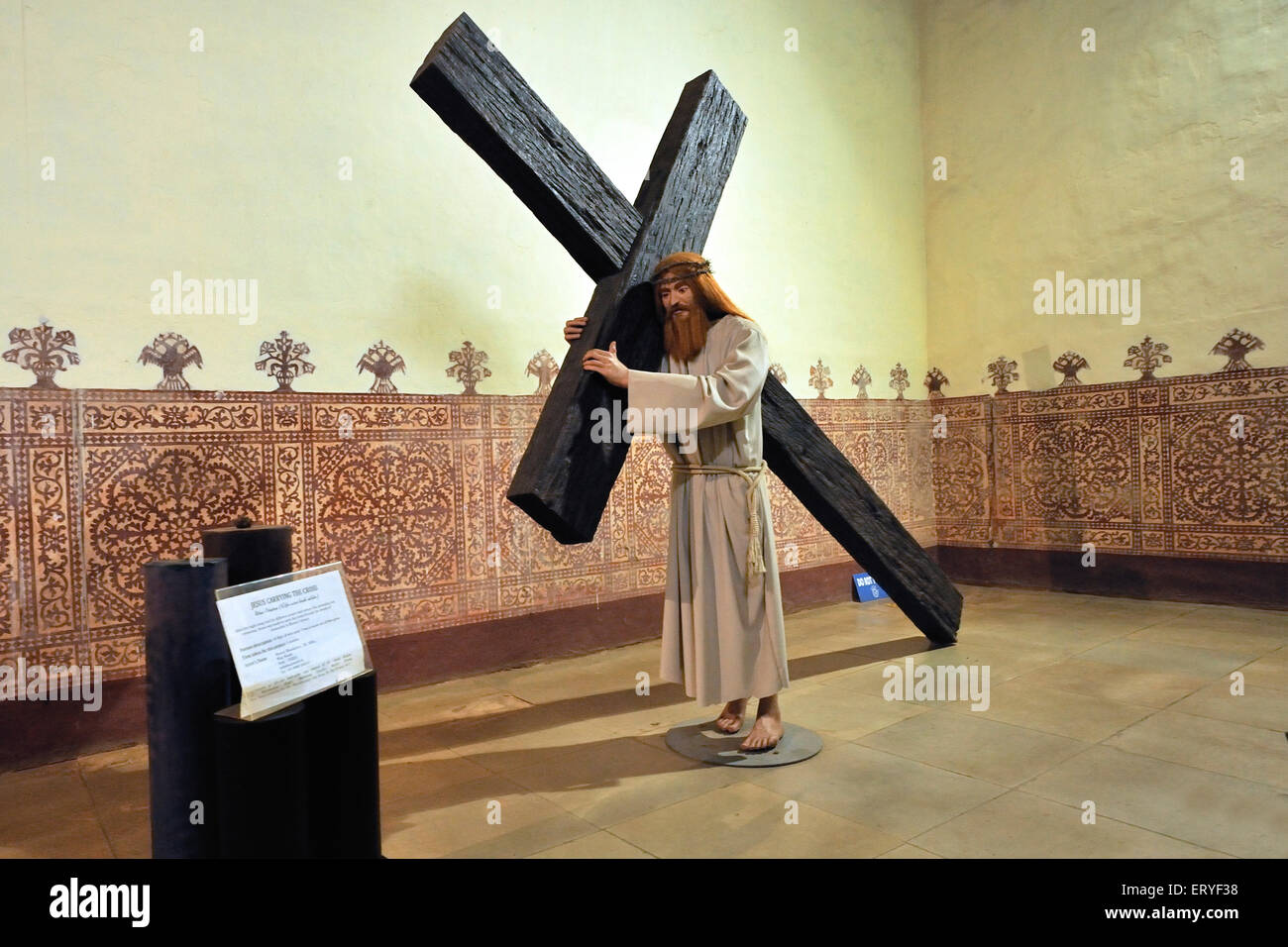 jesus carrying cross statue in archipiscopal palace in old goa