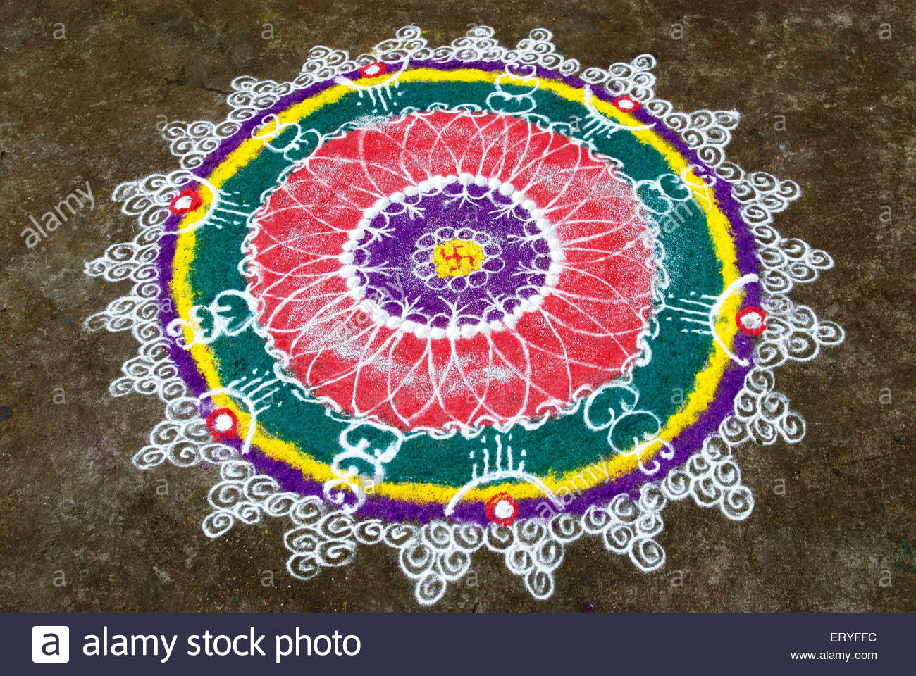 Rangoli floor design with swastik during diwali deepawali for Floor rangoli design