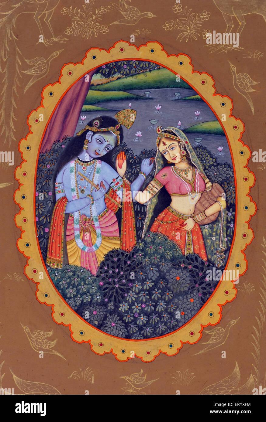 miniature painting of radha krishna Stock Photo, Royalty ...