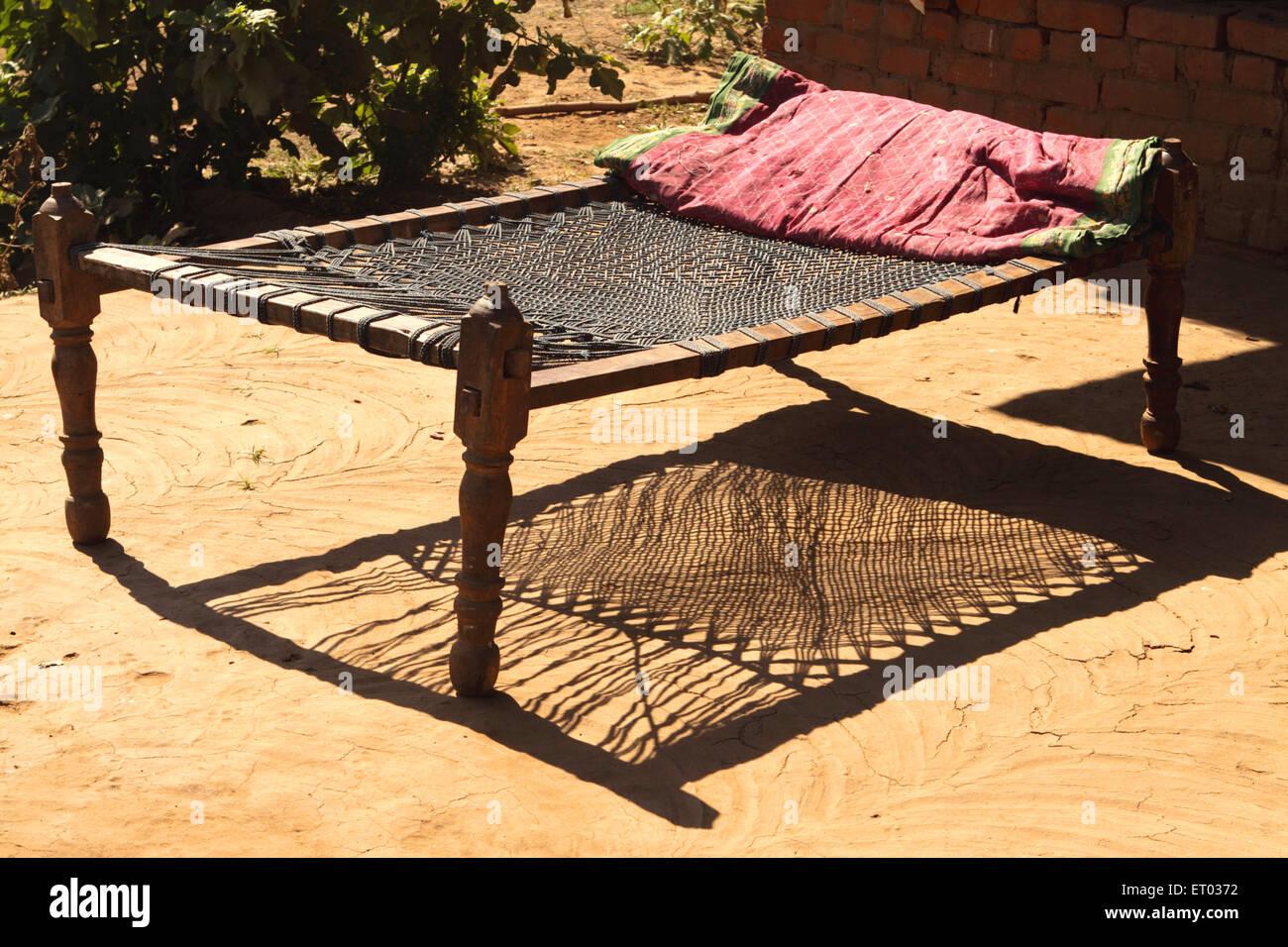 Wooden crib for sale in cebu - Wooden Cot Khatiya Nadiad Gujarat India Stock Image