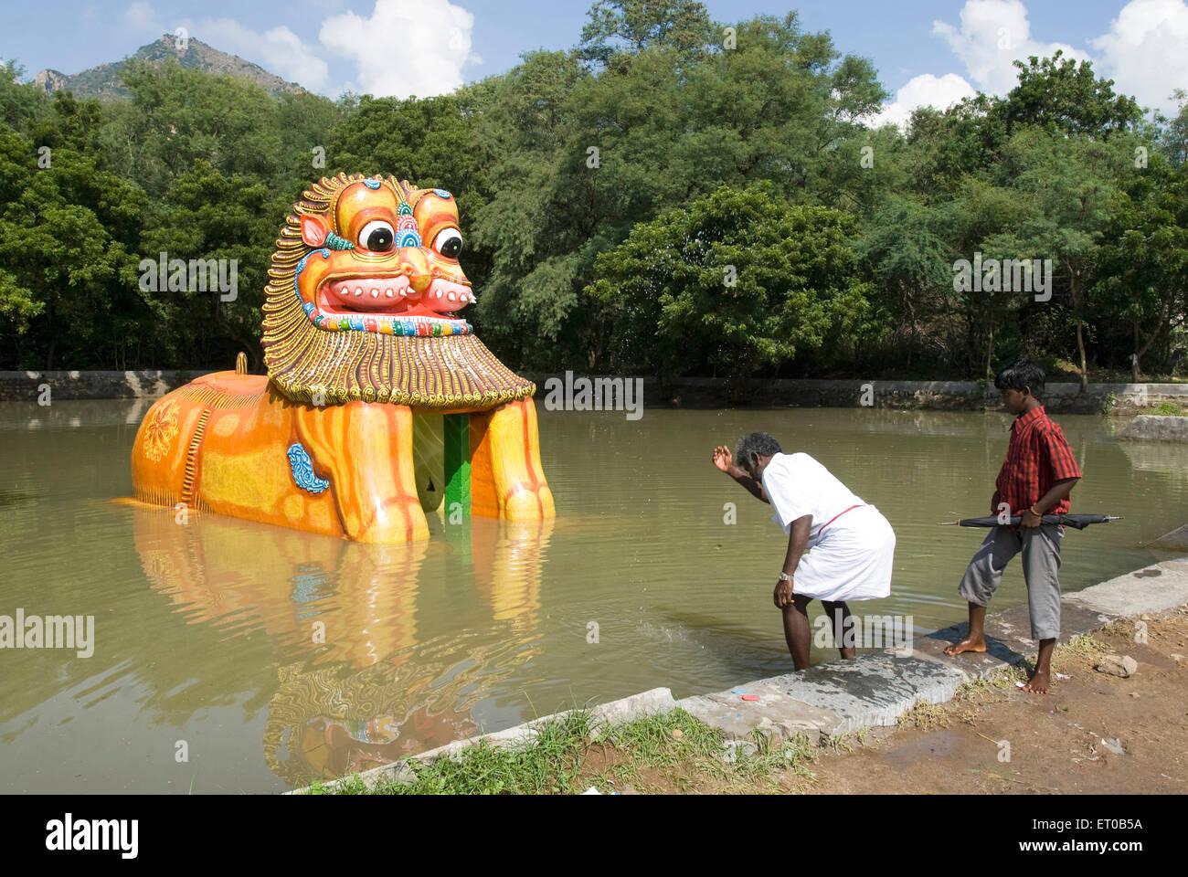 Simha yali tirtha situated on girivalam route in thiruvannamalai tamil nadu india stock