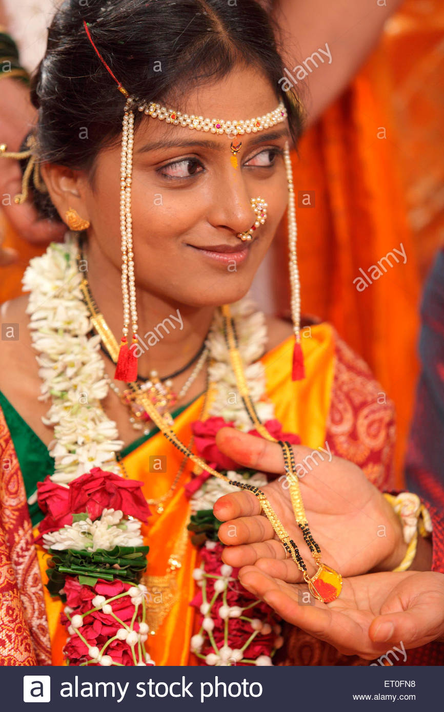 Indian Hindu Wedding Ceremony Bridegroom Offering Mangalsutra To Bride Bombay Mumbai Maharashtra