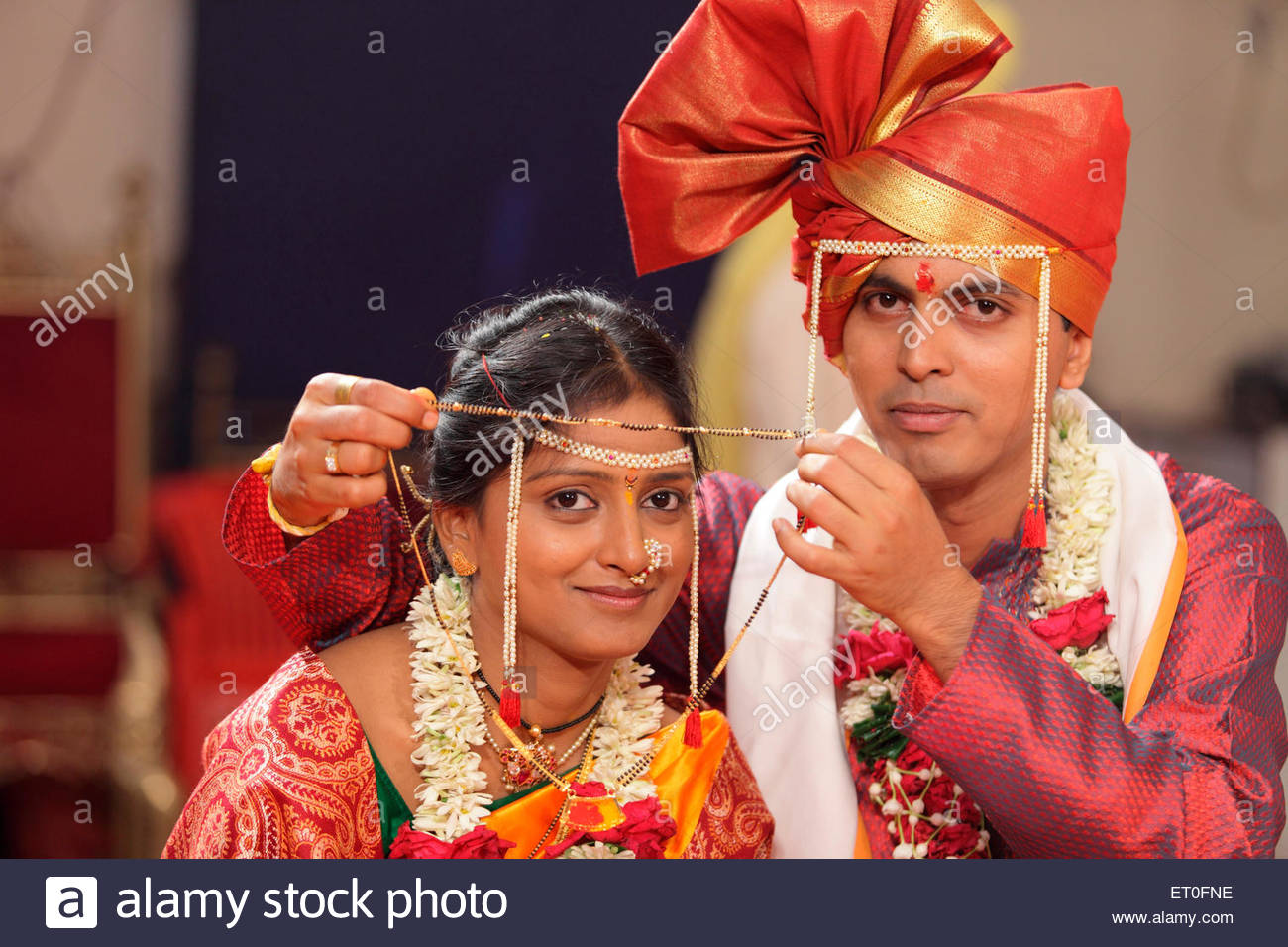 Indian Hindu Wedding Ceremony Bridegroom Holding Mangalsutra Infront Of Bride Bombay Mumbai
