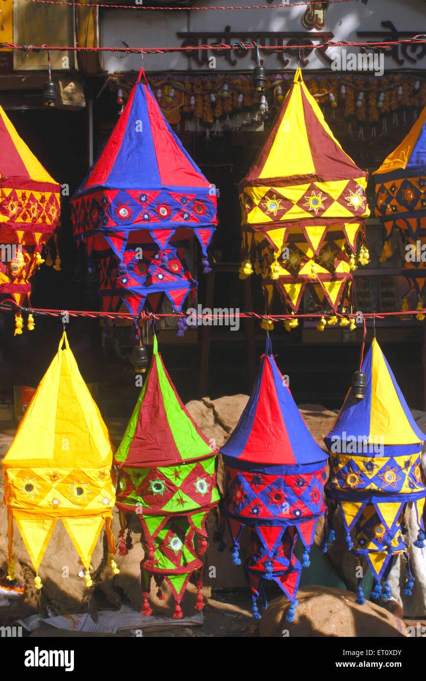 Colourful lanterns cloth lampshades handicraft work akashkandil ...