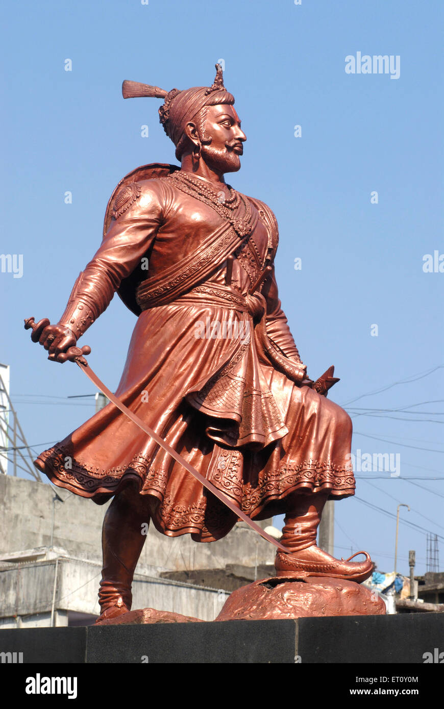 bronze statue of sambhaji maharaj holding sword son of maratha king stock photo royalty free