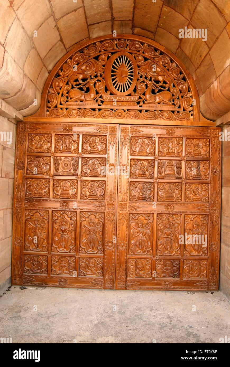 Carved panel on door of global vipassana pagoda ; Gorai ; Borivali ; Bombay Mumbai ; Maharashtra ; India & Carved panel on door of global vipassana pagoda ; Gorai ; Borivali ... pezcame.com