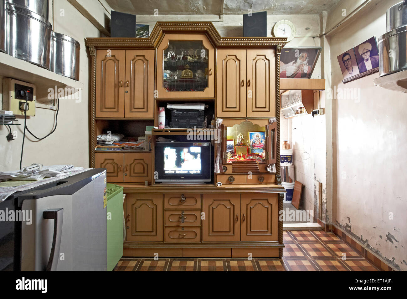 One room house with bathroom textile mill chawl mumbai india asia stock photo