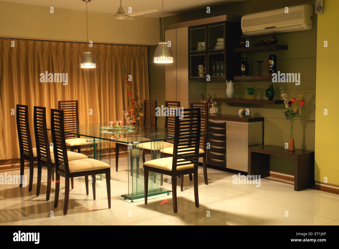 Dining Table Chairs In Living Room Of Indian Home In Bombay Mumbai  Maharashtra India   PR#191   Ssk 166012