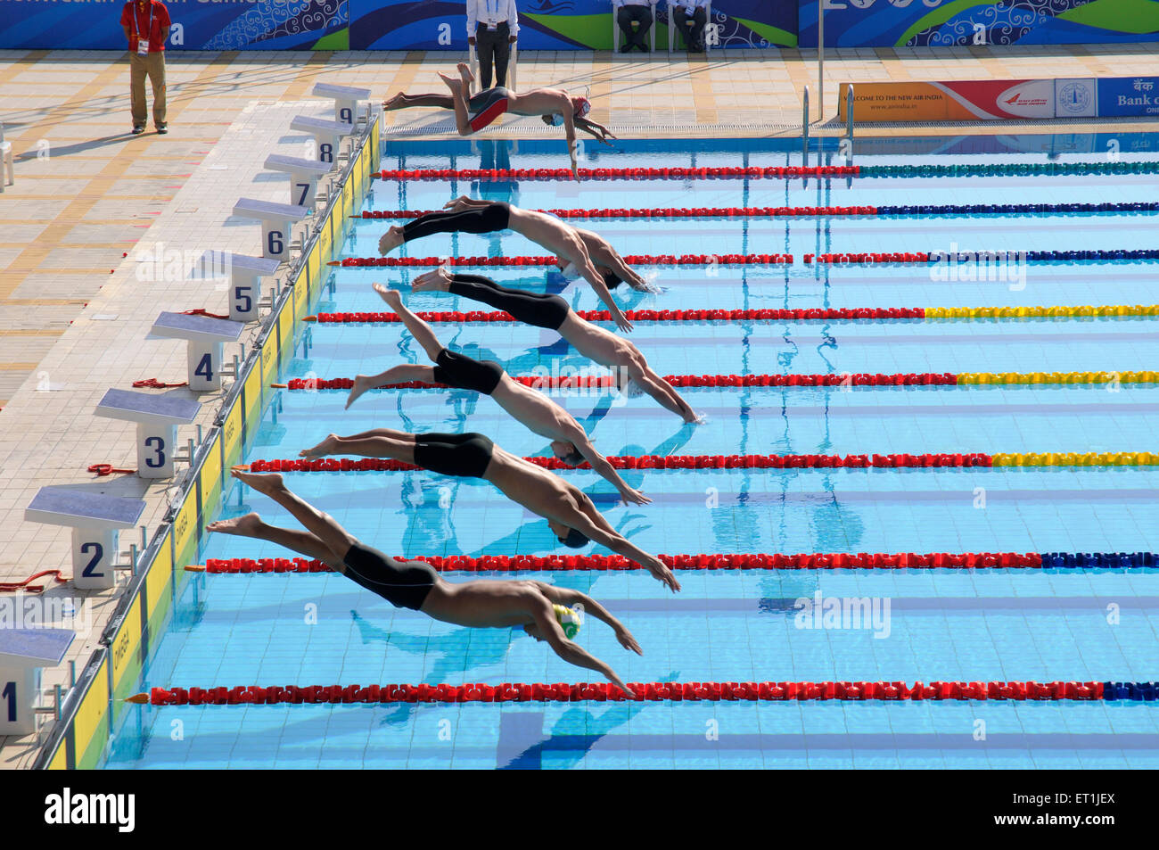 Swimmers Diving In Swimming Pool Of Shree Shiv Chhatrapati Sports Stock Photo Royalty Free