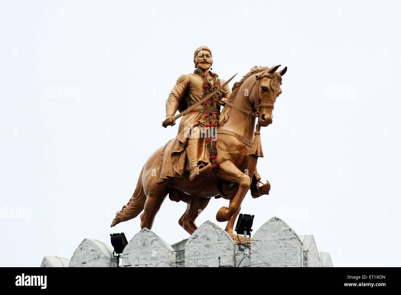 statue of shivaji maharaj on horse at akluj fort solapur stock photo royalty free image