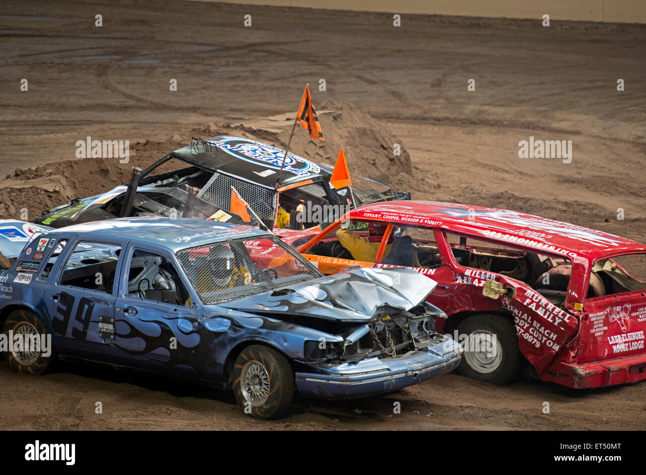 cars in demolition derby san diego county fair del mar california stock photo royalty free. Black Bedroom Furniture Sets. Home Design Ideas