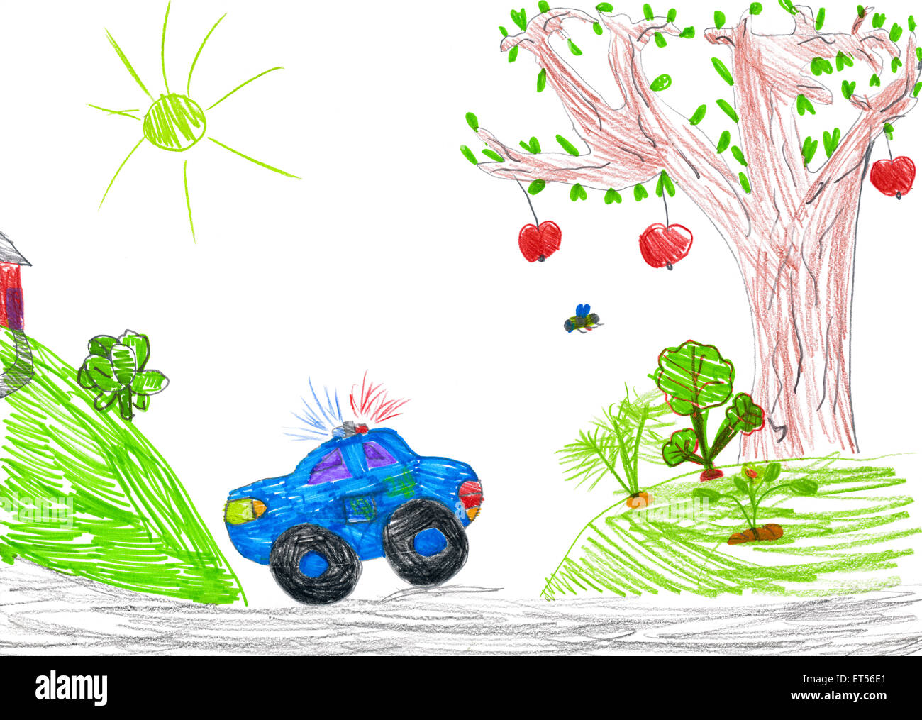 Uncategorized Child Drawing police car and nature child drawing stock photo royalty free drawing