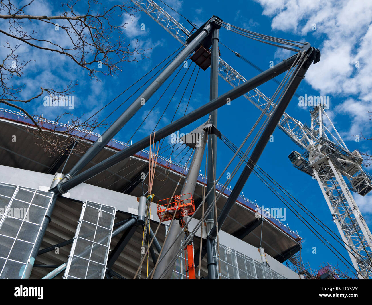 Steel Beams Holding The New Roof Support Tie Ropes, Etihad Stadium, South  Stand Expansion