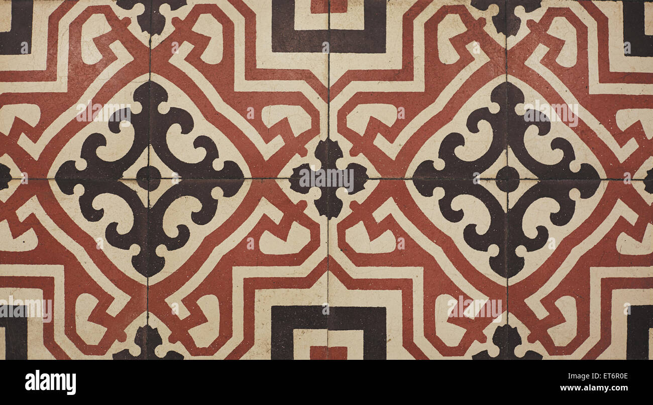 Top view tiled floor with brown mediterranean decorations Stock