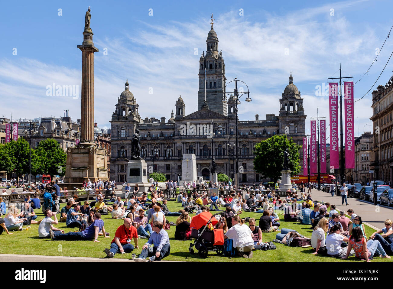 glasgow scotland uk 12th june 2015 at lunch time many people stock photo royalty free. Black Bedroom Furniture Sets. Home Design Ideas