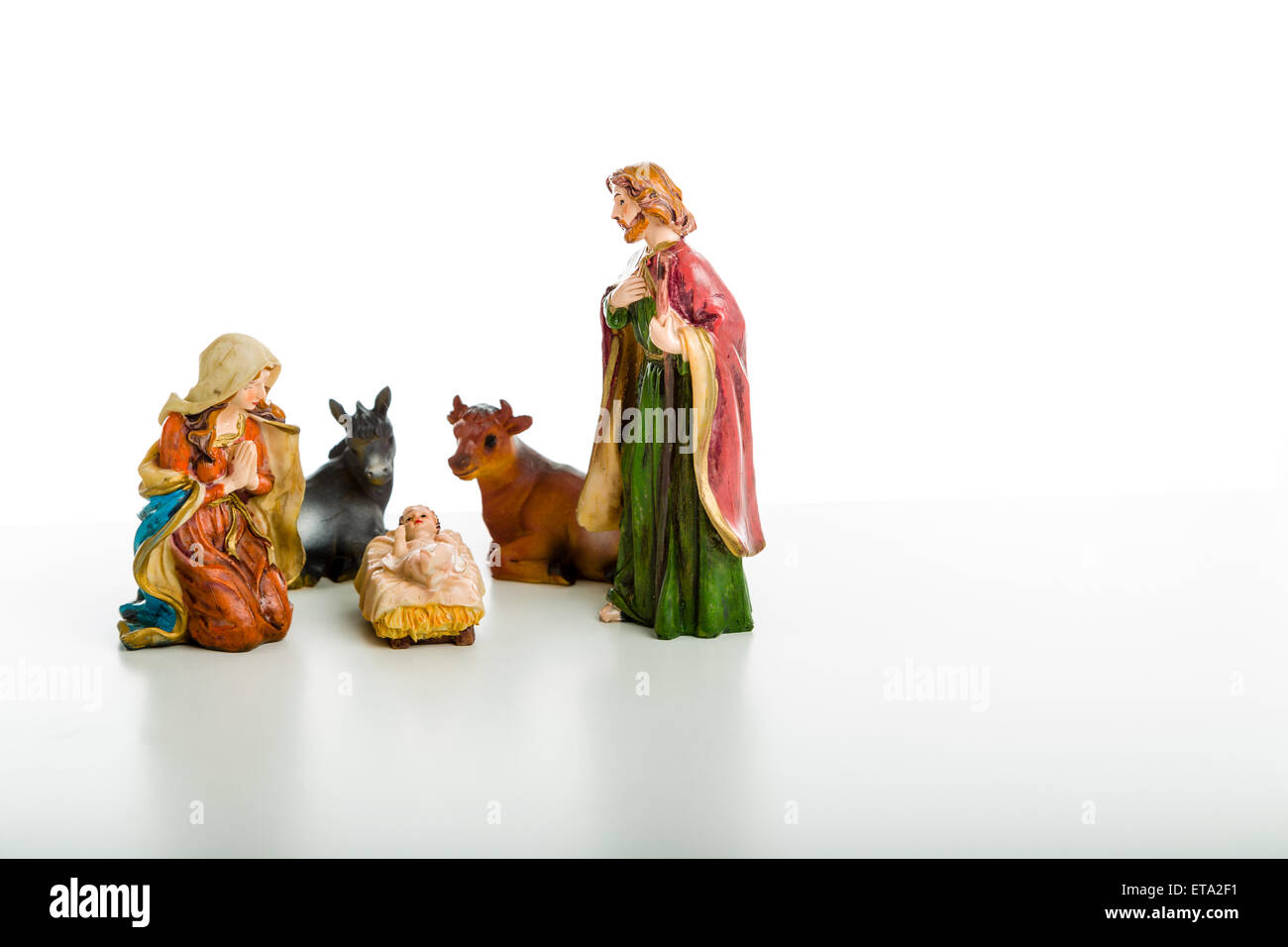A simple Christmas Crib where the little statues represent ...