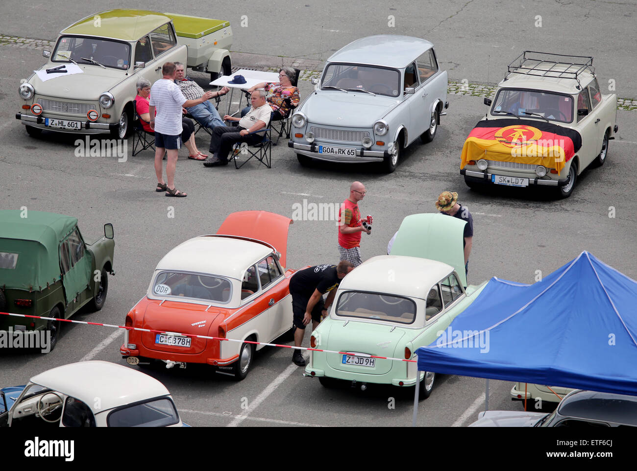 Colored cars zwickau - Stock Photo Zwickau Germany 13th June 2015 Visitor Looks At Historic Trabant Cars At The International Trabant Meeting In Zwickau Germany