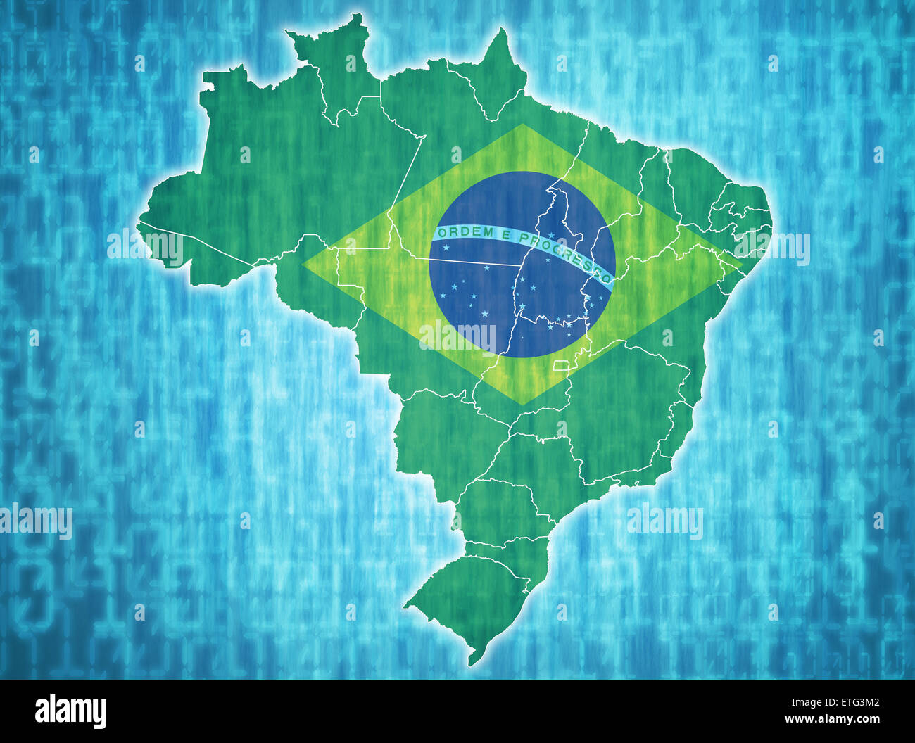 map of brazil with administrative divisions over digital background
