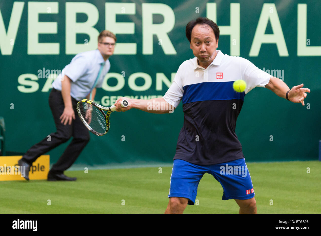 Michael Chang plays in an exhibition match at the Gerry Weber