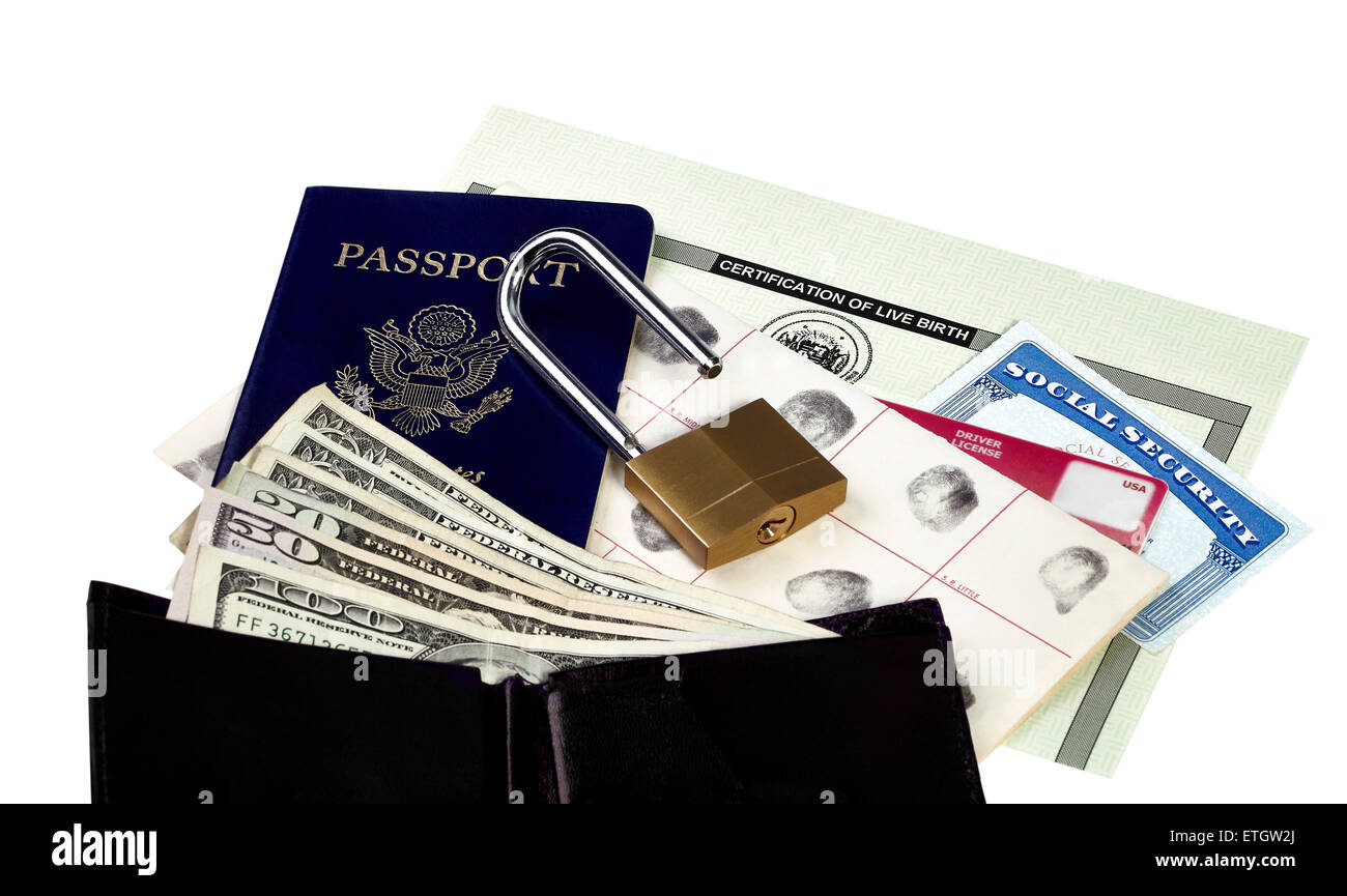 Passport fingerprint card drivers license social security card passport fingerprint card drivers license social security card and birth certificate isolated on white with a wallet and us 1betcityfo Image collections