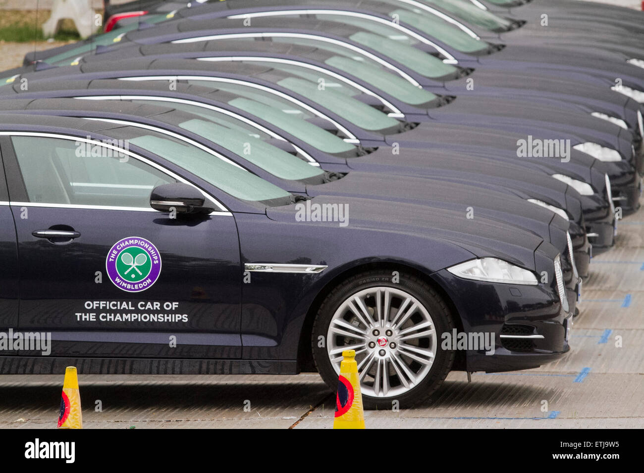 Wimbledon London, UK. 14th June, 2015. A row of official cars for ...