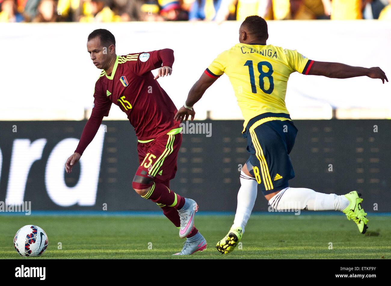 Rancagua Chile 14th June 2015 Colombia s Juan Zuniga R vies