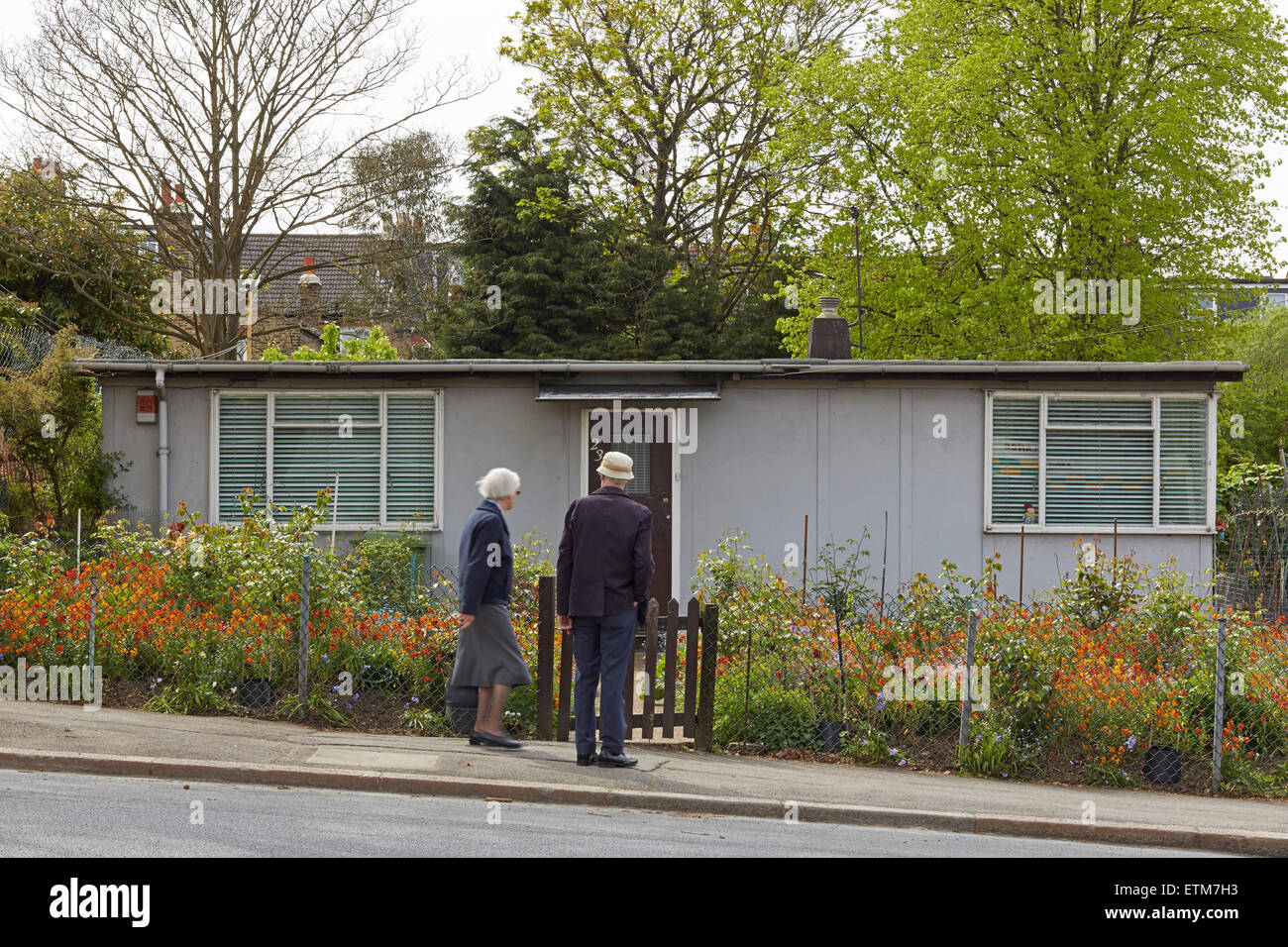 prefabricated bungalows on lordship lane south london excalibur stock