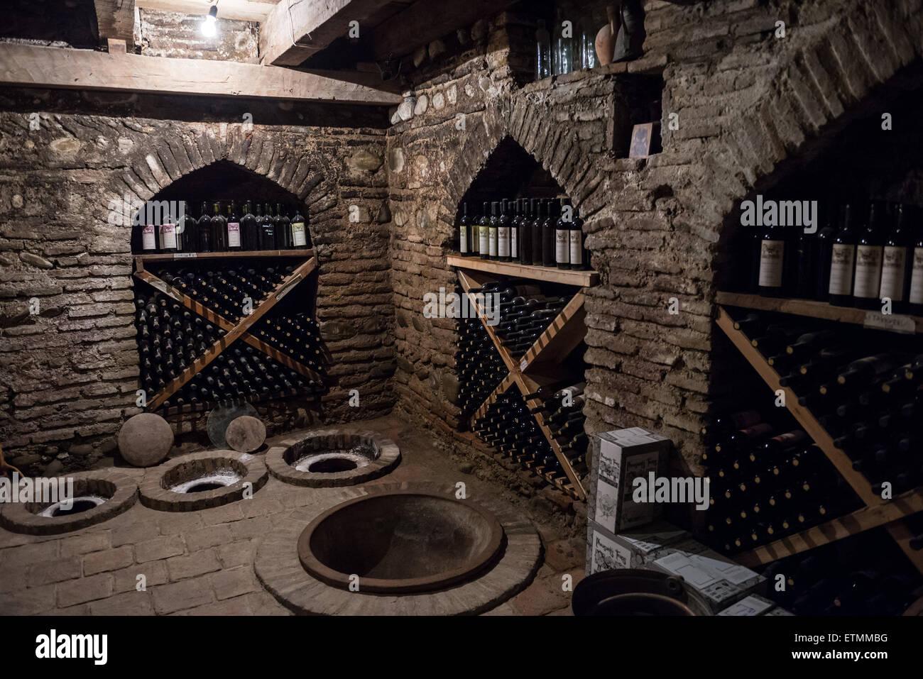 Kvevri Vessels In Wine Cellar
