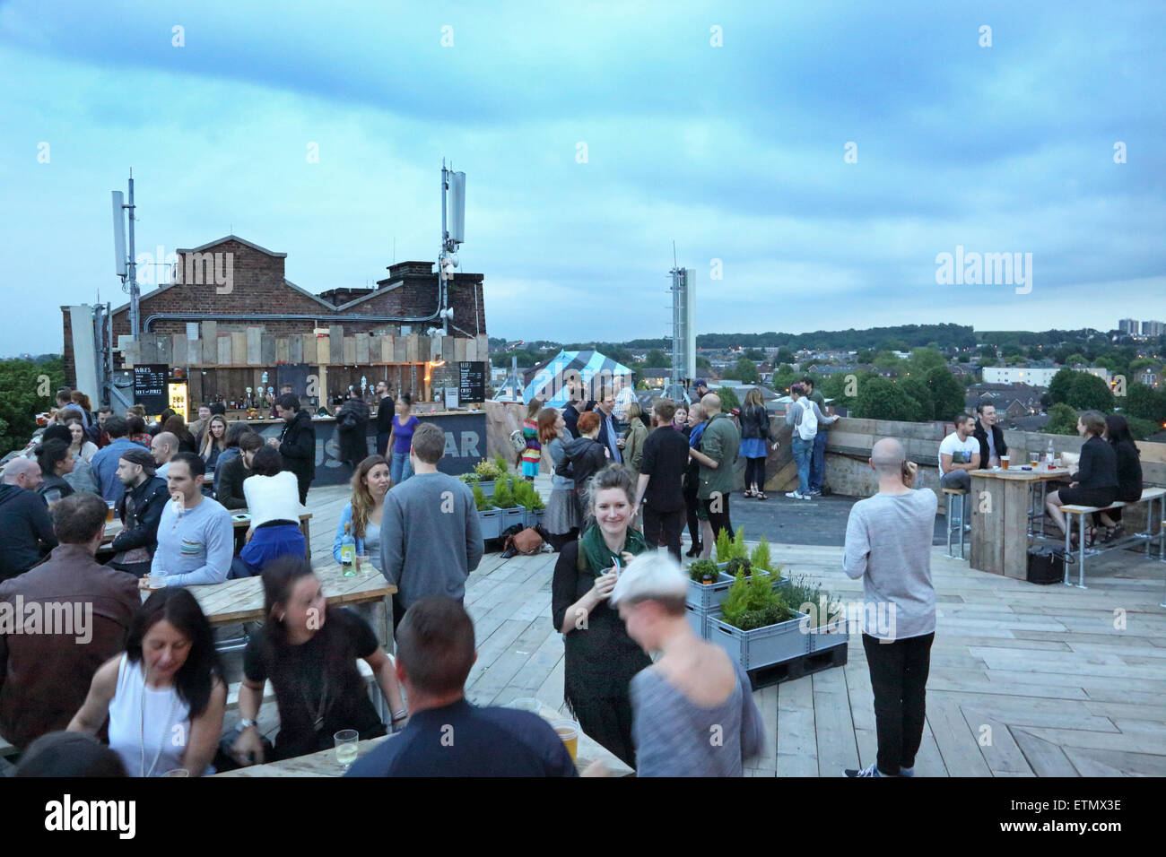 Customers Drinking At The Roof Top Bar At Peckhamu0027s Bussey Building   A  Converted Factory Now Home To Artists And Music Venues