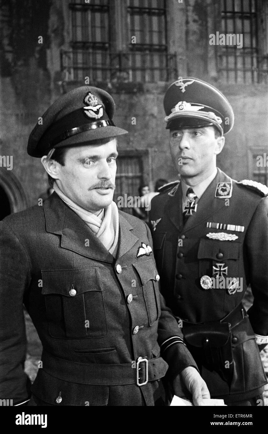 Actors David McCallum (left) And Anthony Valentine On The Film Set During  Filming Of U0027Colditzu0027, The BBC TV Series. David McCallum Played The Part Of  Flight ...