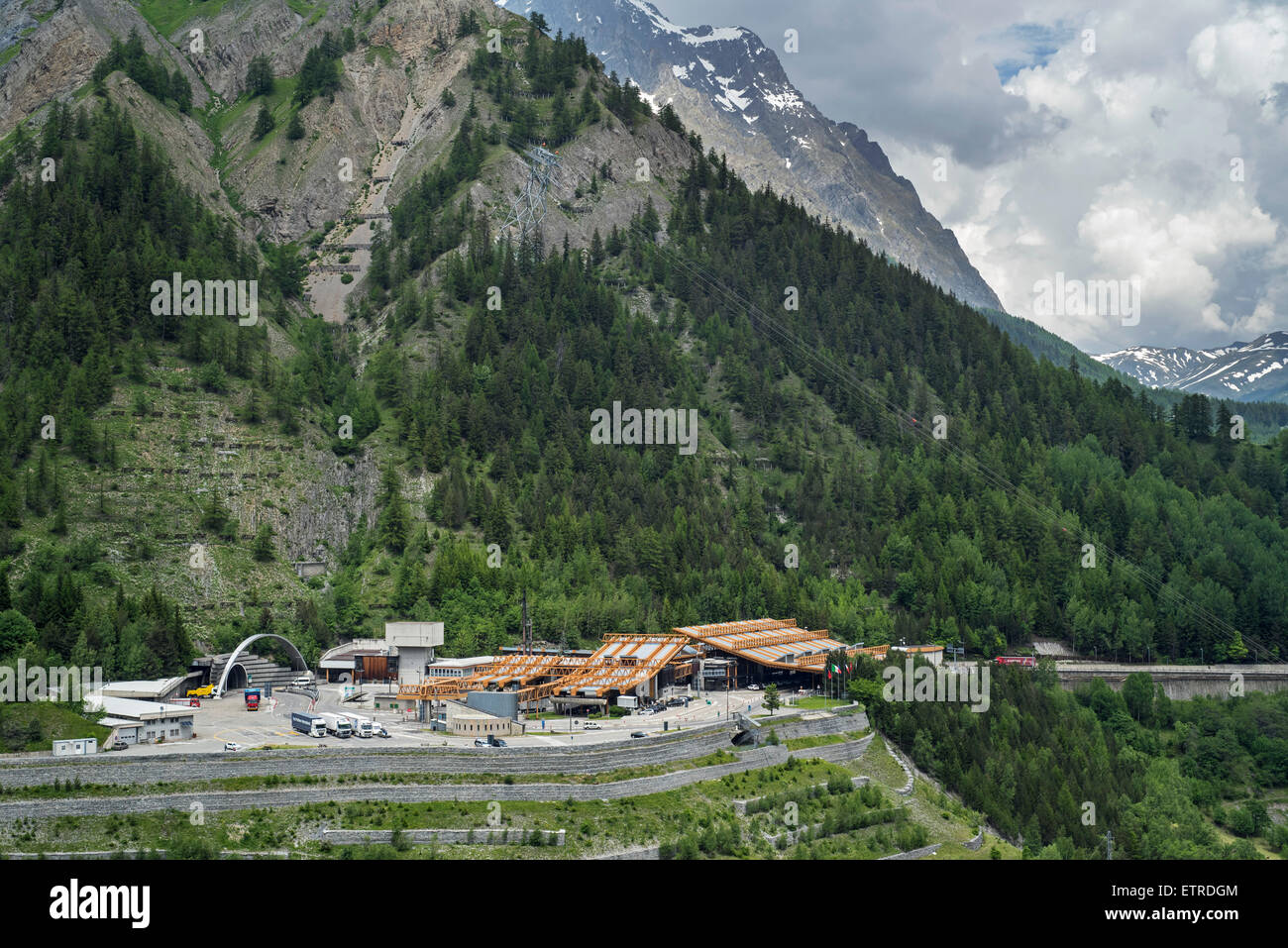italian entrance of mont blanc tunnel in the alps linking chamonix stock photo royalty free. Black Bedroom Furniture Sets. Home Design Ideas