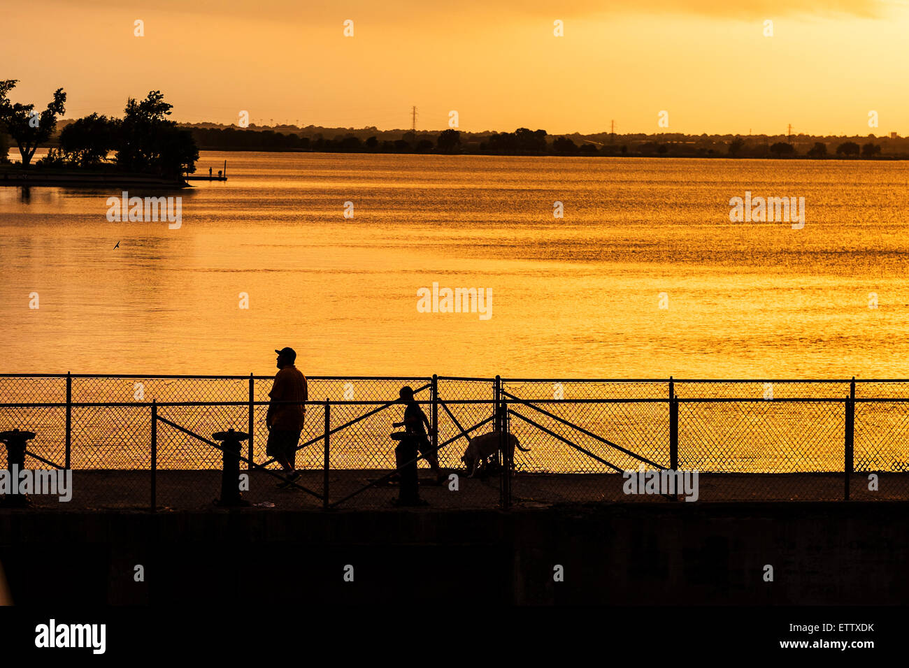 A man boy and dog walk across a levee at overholser dam in a man boy and dog walk across a levee at overholser dam in oklahoma city oklahomausa at sunset sciox Image collections