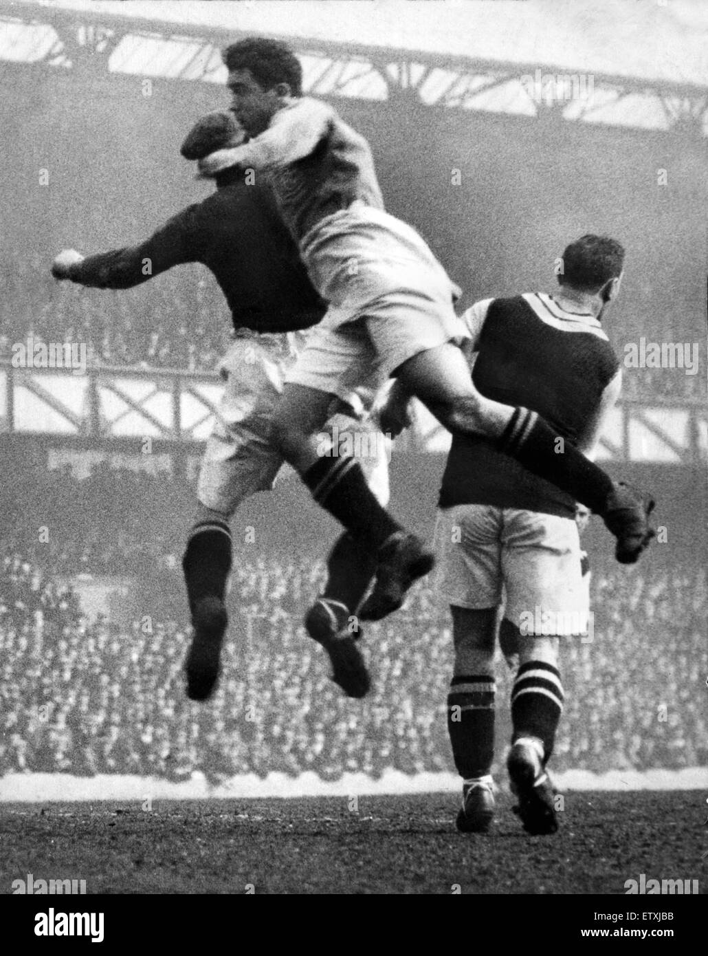 Everton footballer Dixie Dean in action for his team during a