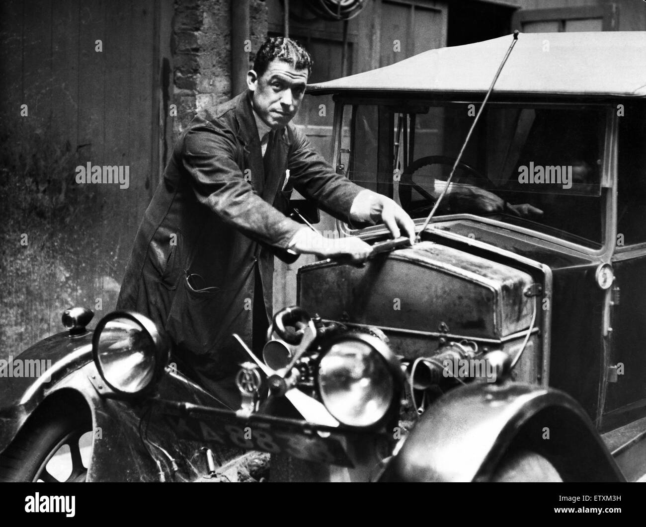 "Everton footballer William ""Dixie"" Dean dressed in mechanic"