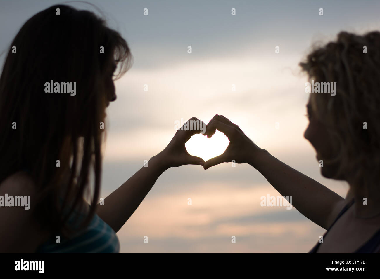 Heart shape made of hands from two best girl friends Stock Photo ...