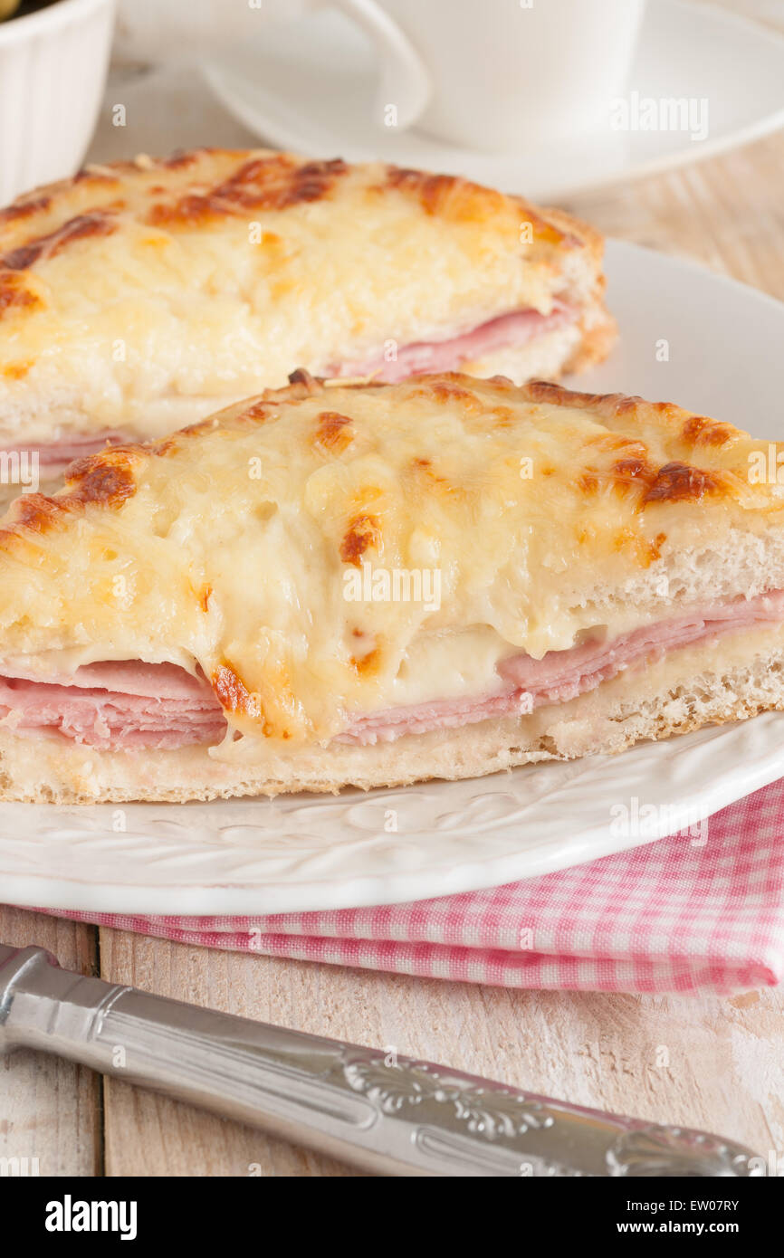 Croque Monsieur a traditional French toasted cheese and ham sandwich ...