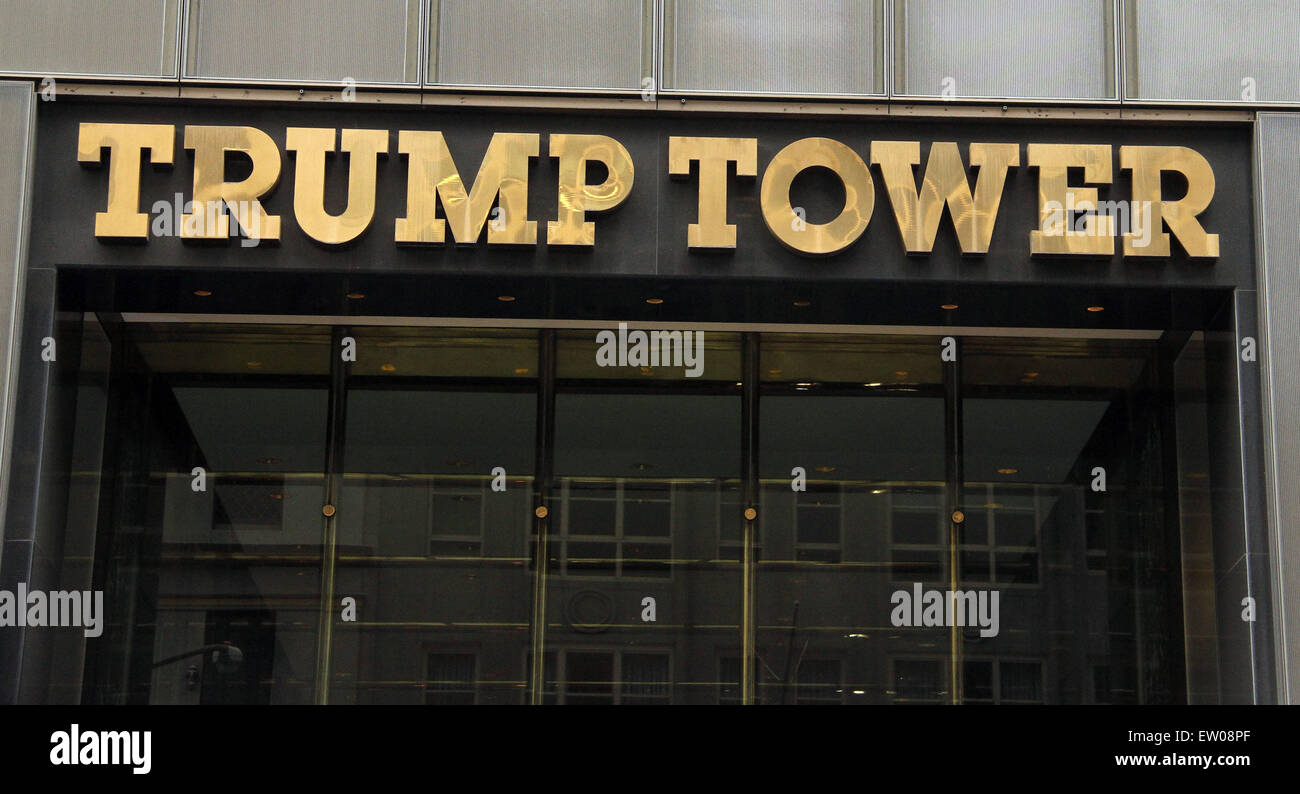 new york new york usa 15th june 2015 a view of trump tower sign stock photo royalty free. Black Bedroom Furniture Sets. Home Design Ideas
