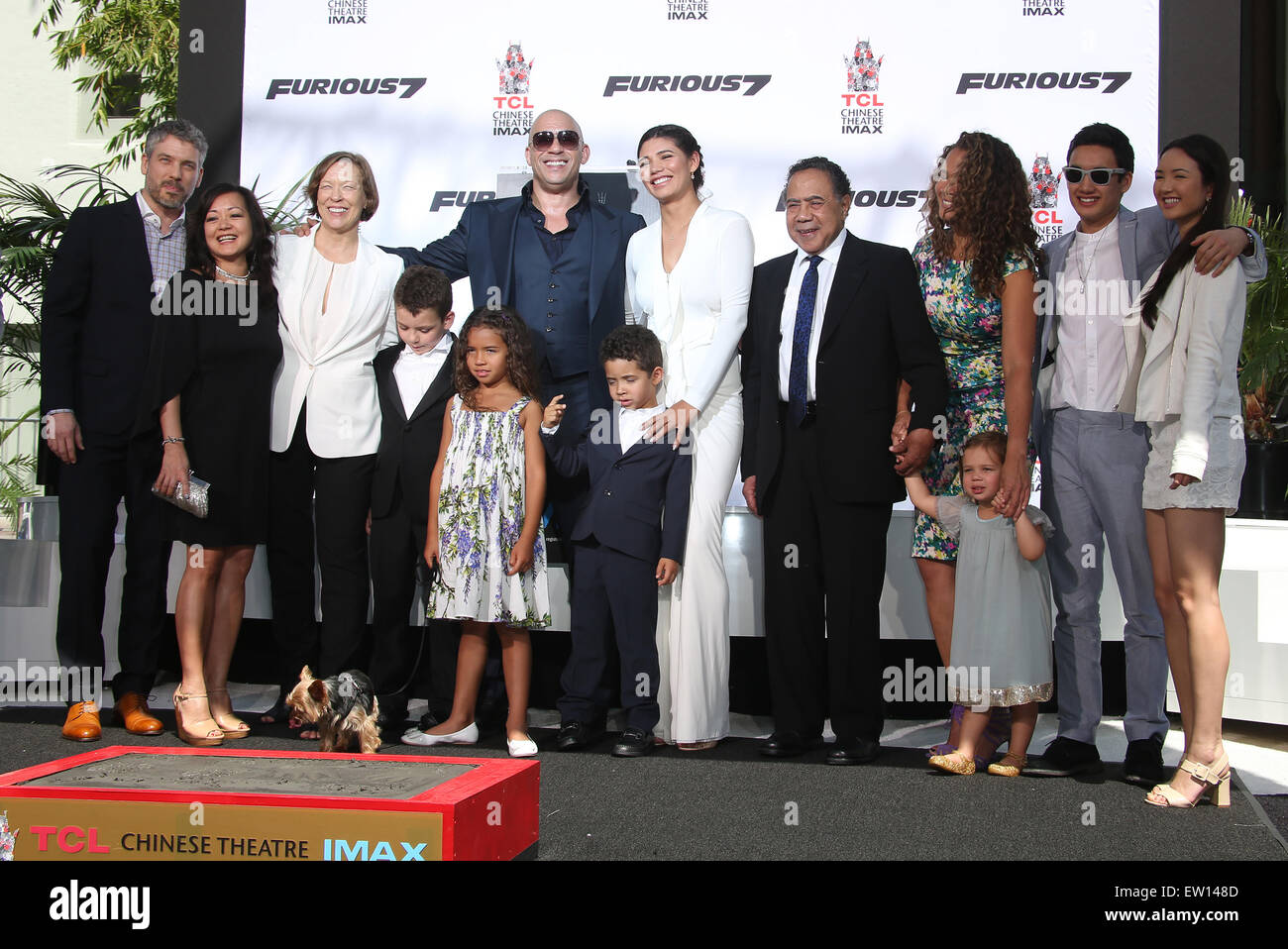 Stock photo vin diesel s hand print and foot print ceremony featuring delora vincent vin diesel vincent sinclair hania riley sinclair