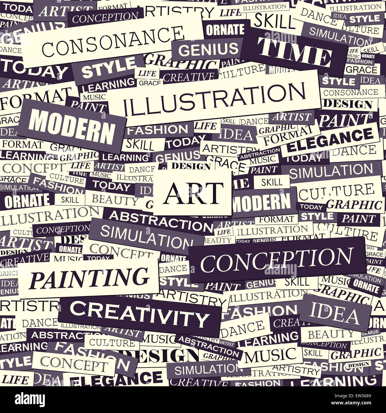 Art Seamless Pattern Concept Related Words In Tag Cloud Conceptual Stock Vector Art