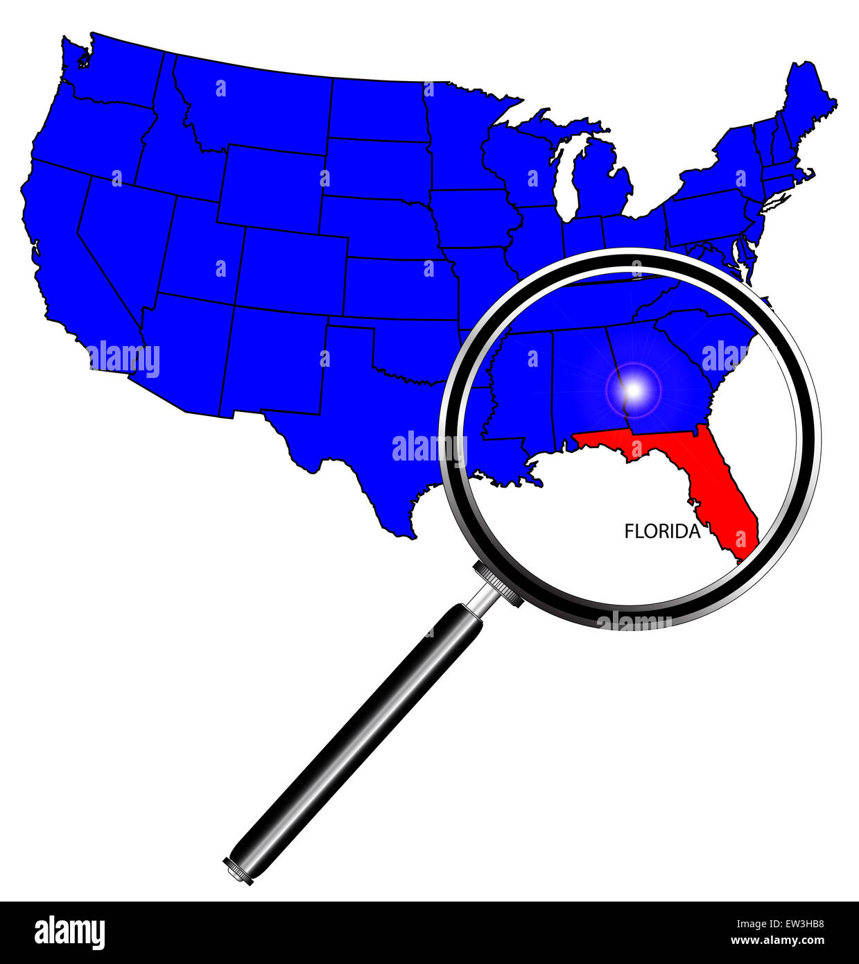 Florida State Outline Set Into A Map Of The United States Of - Us map florida state